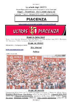 La sceda degli Ultras del Piacenza. Supplemento alla fanzine n. 192
