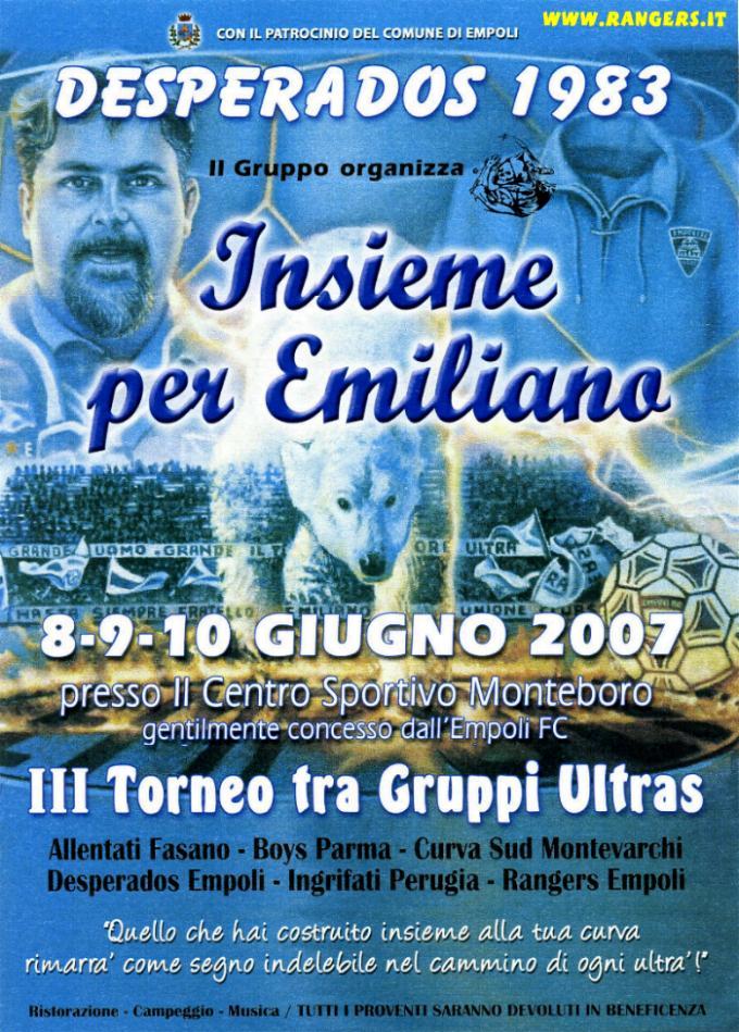 Il volantino del 3° Memorial Emiliano Del Rosso