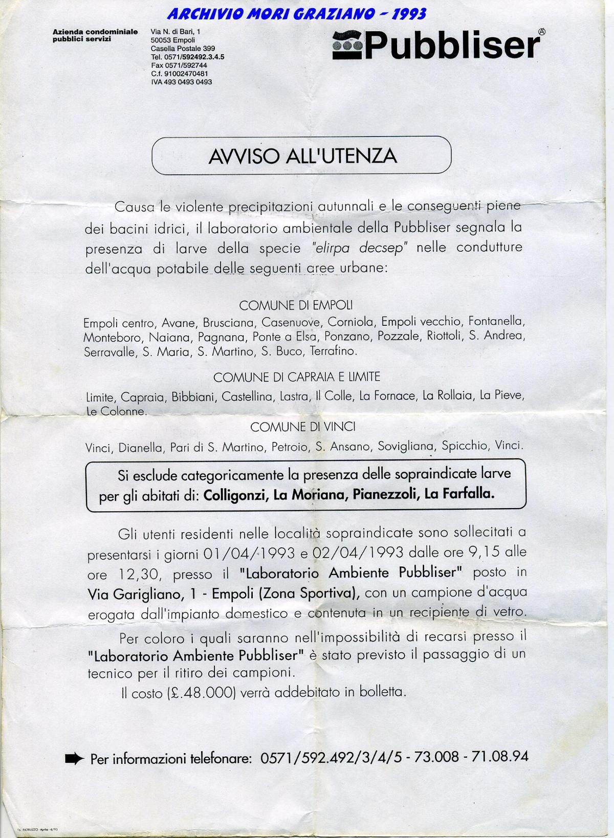 Il volantino del Pesce d'Aprile del 1993