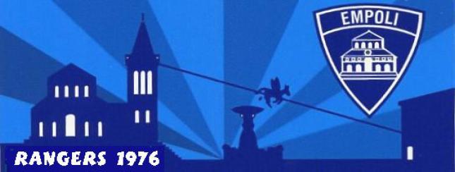 Uno stemma del 1987 dei Rangers Empoli con il panorama di Piazza dei Leoni e il Volo del Ciuco