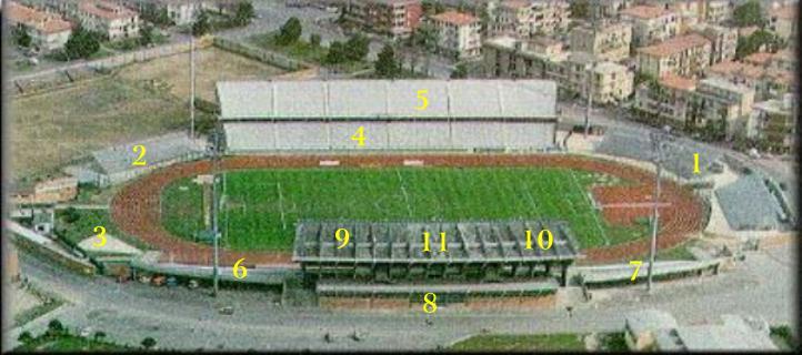 La planimetria dello stadio Carlo Castellani di Empoli