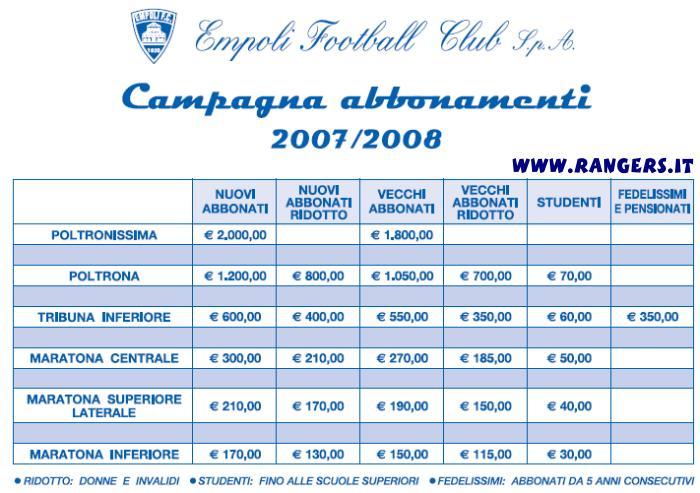 I prezzi per gli abbonamenti 2007-08