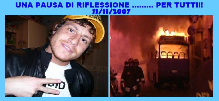 Il sito Rangers Empoli è rimasto chiuso per una settimana. Nella foto la vittima Gabriele Sandri e immagini degli incidenti di Roma
