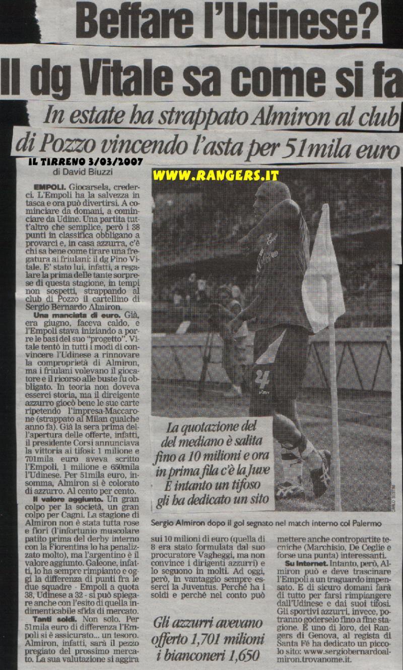 Il Tirreno del 3/03/2007